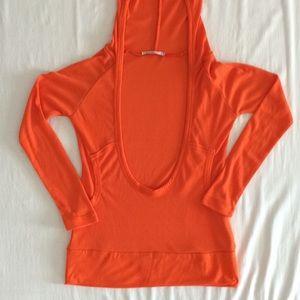 Tops - Orange Long Sleeve Shirt with Hood
